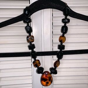 Jewelry - Cheetah Chunky Black Plastic Stone Necklace